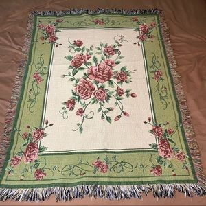 Roses Rose Buds Woven Afghan Throw Blanket 54""